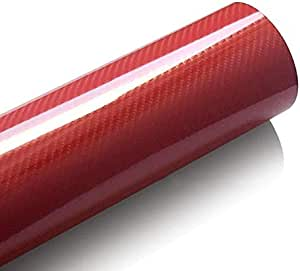 Car color film 5D carbon fiber sticker Twill air channel PVC interior body film -red