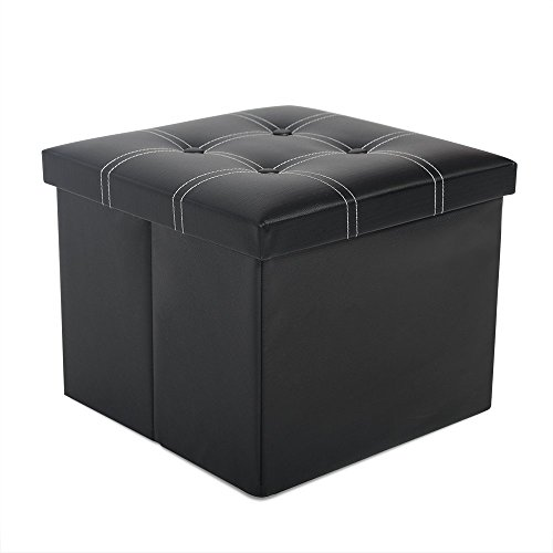 Classic Faux Leather Folding Storage Ottoman Bench Storage Box Chest Foot Rest Stool Padded Pouffe Seat (Black, - Storage Faux Boxes Leather