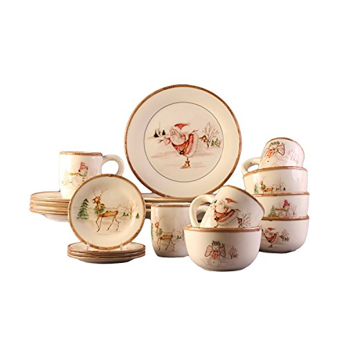 Christmas Dinner Dishes - American Atelier Christmas Twig 20 Piece Dinnerware Set, Cream