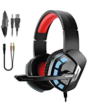 JAMSWALL PS4 Headset Xbox one s Headset 3.5mm Wired Gaming Headset with Stereo Surround Sound, LED Gaming Headphones with Mic for Laptop Mac Smart Phone Xbox one new