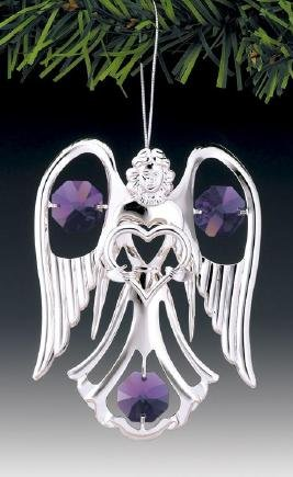 (Purple Swarovski Crystal Silver Angel & Heart Ornament or Suncatcher)