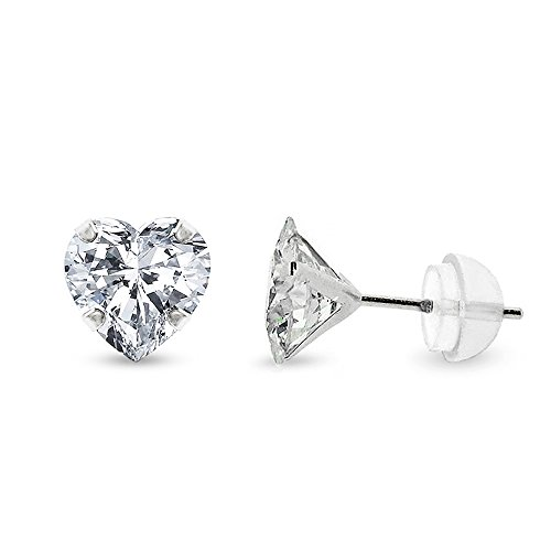 14k White Gold Womens Heart Cubic Zirconia Martini Setting Stud Earrings 4mm 5mm 6mm (6mm)