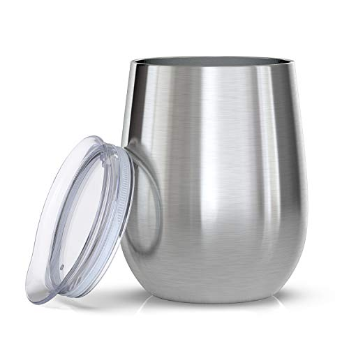 12 oz Stainless Steel Wine Tumbler with Lid, Double Wall Vacuum Insulated Stainless Steel Wine Glasses, All Kinds of Hot and Cold Beverages Wine\Coffee\Drinks\Champagne\Cocktails ...
