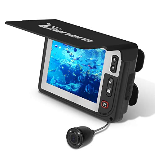 Fishing Finder Camera, Moocor Portable Fish Depth Finder HD 700 TVL Infrared LED Underwater Camera with 3.5 Inch LCD Monitor for Ice Lake Sea Boat Kayak Fishing - LQ-3505T