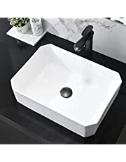 Bathroom Vessel Sink 20x15 Inch Rectangle Vanity Basin Above Counter Ceramic Sinks Countertop White Washing Bowl Laundry Bowl Sink