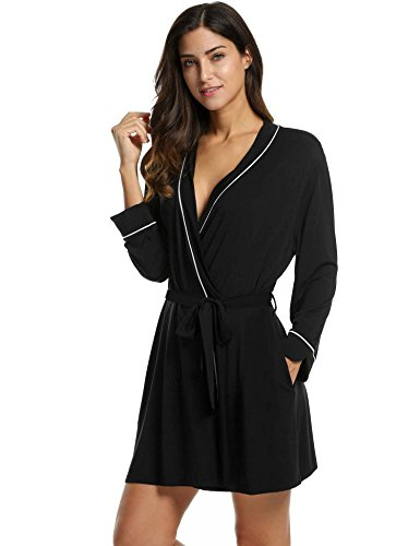Avidlove Womens Cotton Knit Wrap Robe Soft Lightweight Black Large