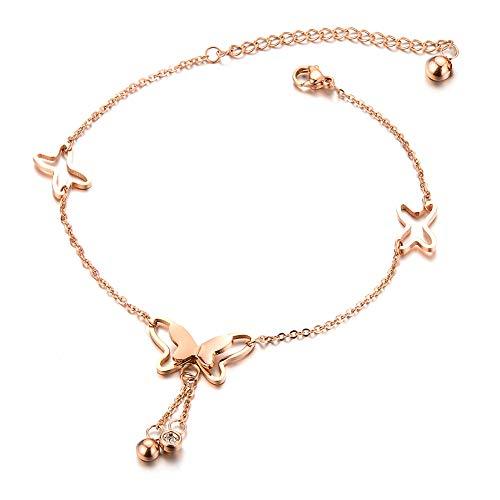 QJLE Stainless Steel Beach Anklets Ankle Bracelets for Women,14K Rose Gold Plated Adjustable Foot Chain Heart Elephant Bead Anklet for Teen Girls (Butterfly) 14k Gold Butterfly Bracelet