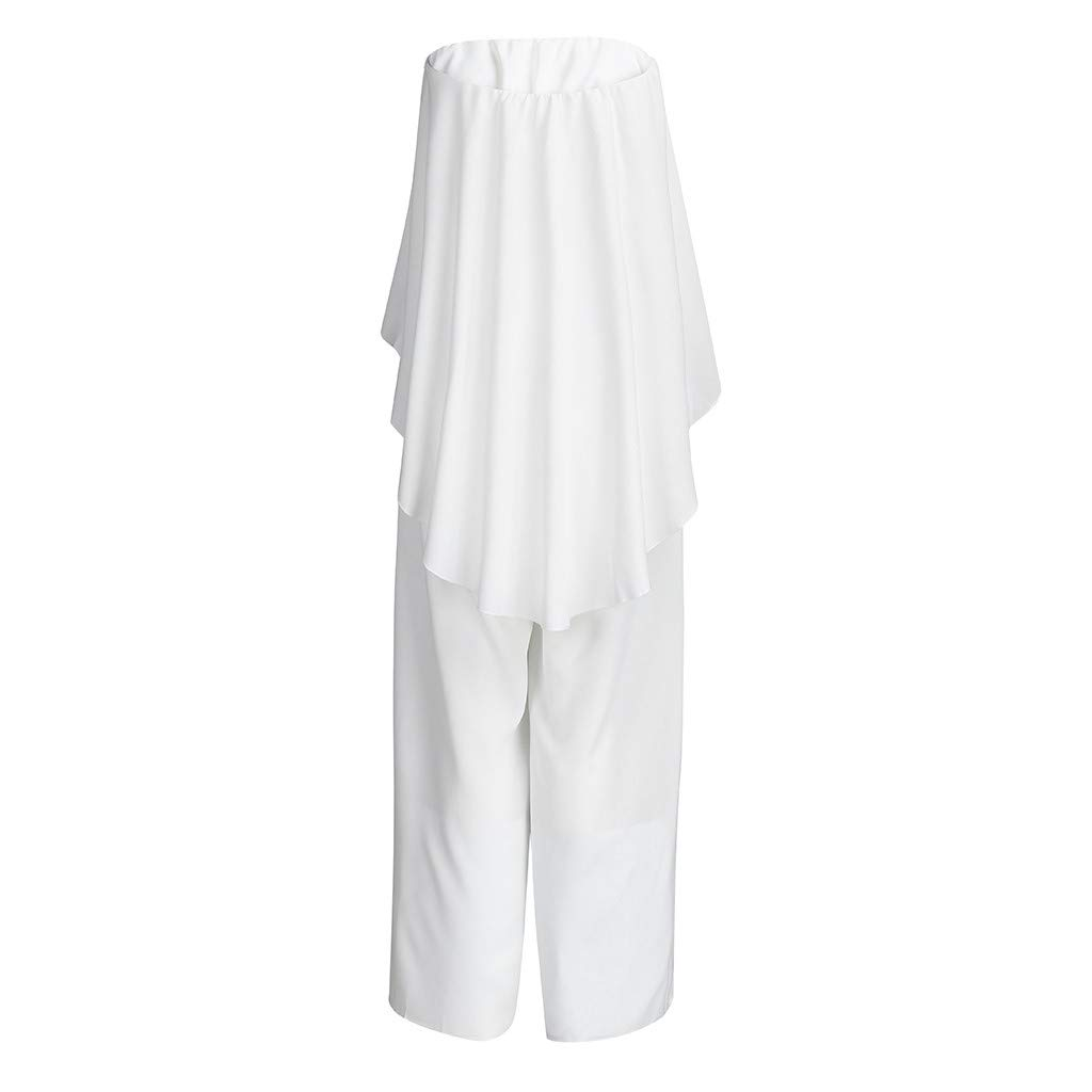 TANLANG New Women Elegant and Flowy One-Piece Dress with A Collar and Off-The-Shoulder Long Pant Solid Color Long Jumpsuit White by TANLANG (Image #3)