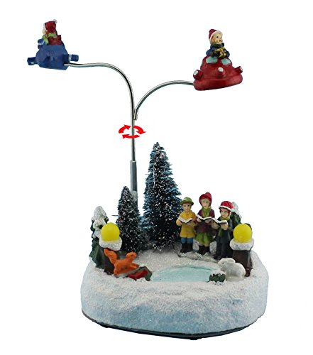 Animated Figurine (Christmas Day Decor Animated Rolling Collectible Figurine & Choirs with Led Light and Music Holiday Decoration & Gift (Rolling Plane))