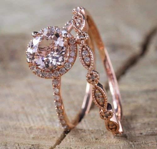 QIAOYING 2PCS Rings 18K Rose Gold Morganite& White Topaz Ring Set Women Wedding Bridal (6)