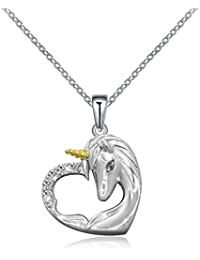 925 Sterling Silver Unicorn Pendant Necklace Gifts Girls...