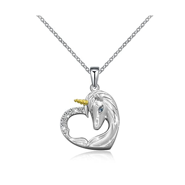 ACJNA 925 Sterling Silver Unicorn Pendant Necklace Rings Gifts for Girls Women 3