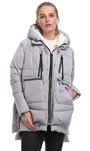FADSHOW Women's Winter Down Jackets Long Down Coats Warm Parka with Hood,Grey,S