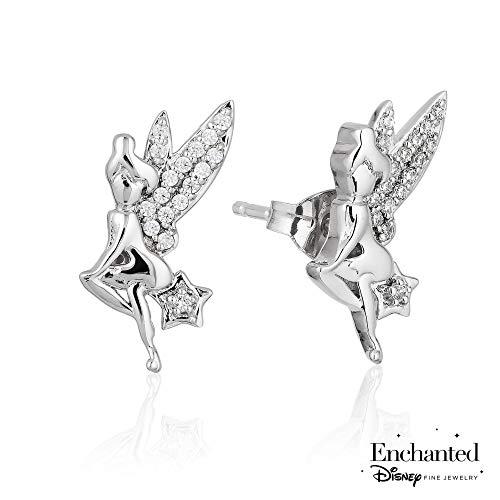Enchanted Disney Fine Jewelry Tinkerbell Sterling Silver Diamond Stud Earrings 1/10ctw
