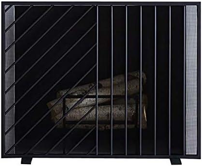 暖炉スクリーン シングルパネル暖炉スクリーン、錬鉄耐火フェンスフリースタンディングゲート、屋内ホームリビングルームインテリアガスストーブアクセサリー、黒、30×38in