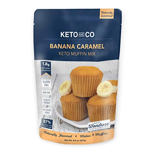 Banana Caramel Keto Muffin Mix by Keto and Co | Just 1.8g Net Carbs Per Serving | Gluten Free, Low Carb, No Added Sugar, Naturally Sweetened| (Banana Caramel Muffins)