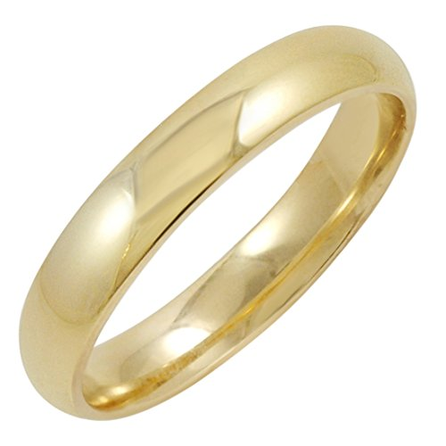 Men's 14K Yellow Gold 4mm Comfort Fit Plain Wedding Band (Available Ring Sizes 8-12 1/2) Size 10 ()