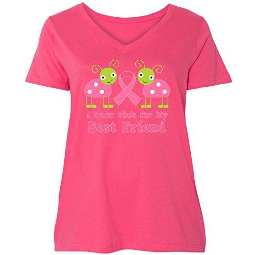 inktastic - Pink Ribbon Best Friend Ladies Curvy V-Neck Tee 1 (14/16) Pink ddb4