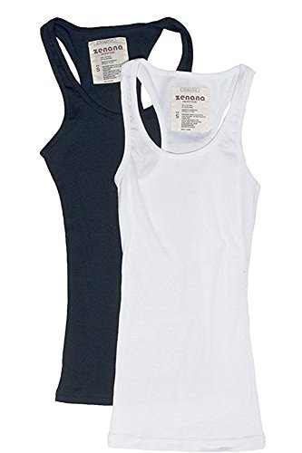 Trendyfriday Women's Ribbed Racerback Athletic Active Tank Tops 2 or 4 Packs (Large, 2 Pack - Navy, White)