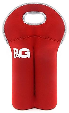 PAG Insulated Neoprene Wine Tote Water Bottle Carrier Holder Bag for Travel, 2 Bottle, Red - Neoprene 2 Bottle Wine Tote