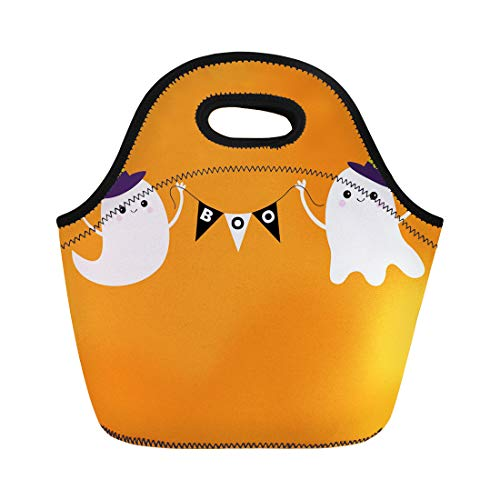 Semtomn Neoprene Lunch Tote Bag Flying Ghost Spirit Holding Bunting Flag Boo Witch Hat Reusable Cooler Bags Insulated Thermal Picnic Handbag for Travel,School,Outdoors, Work -