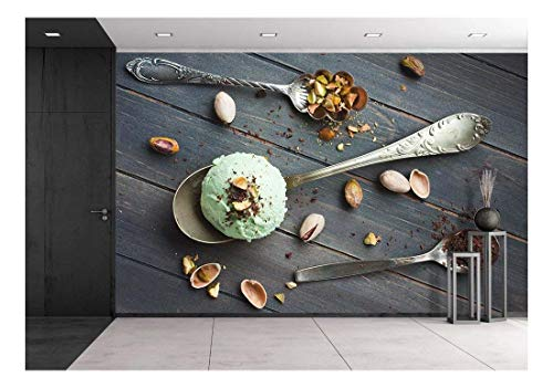 Homemade Wallpaper - wall26 - Scoop of Homemade Pistachio Ice Cream - Removable Wall Mural | Self-Adhesive Large Wallpaper - 100x144 inches