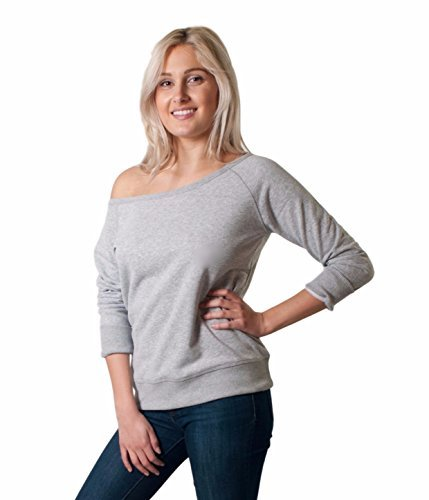 Friday Chic Women's Scoop Neck Sweatshirt (Large, Grey Heather)