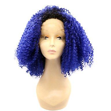 MENRY Mujer Peluca Lace Front Sintéticas Corto Kinky rizado Azul Pelo Ombre Peluca natural Pelucas para