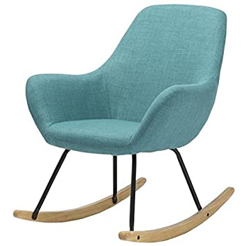 Générique Norton Fauteuil Rocking Chair En Tissu Bleu Pieds