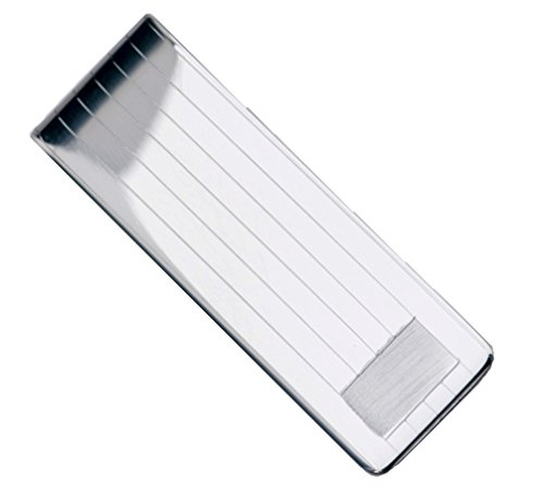 Sterling Silver .925 Solid Striped Design Engravable Money Clip. Designed and Made In Italy. By Sterling Manufacturers by Sterling Manufacturers