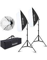 Softbox Dauerlicht Softboxen 2er Set, RALENO 50 x 70cm Tageslicht Studioleuchte Fotostudio Kit Fotolicht Soft-Box mit 85W 5500K E27 Fotolampe Stativ