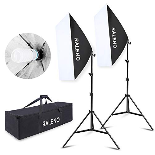 "RALENO Softbox Photography Lighting Kit 20""X28"" Photography Continuous Lighting System Photo Studio Equipment with 2pcs E27 Socket 5500K Bulb Photo Model Portraits Shooting Box"