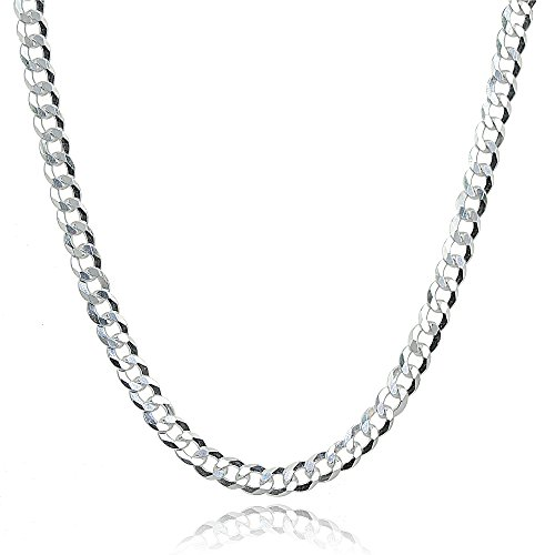 (Sterling Silver Italian 2.5mm Diamond-Cut Cuban Curb Link Chain Necklace, 20)