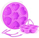 2 Pack Silicone Egg Bites Mold for Instant Pot Accessories - Round & Heart Shape, FDA Aprroved - Egg Cooker & Egg Poacher for 5, 6, 8 qt Instant Pot Pressure Cooker/ Microwave (Purple)