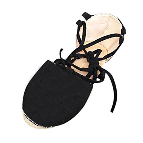 Casual Zapatos Sandalias Suela Tela Libre Playa Correa para Negro y PAOLIAN 2018 Paja 1 Fiesta Sandalias Deporte Terciopelo Mujer Lazo de Plano Blanda Romano Zapatillas de Verano Aire del YqSPH