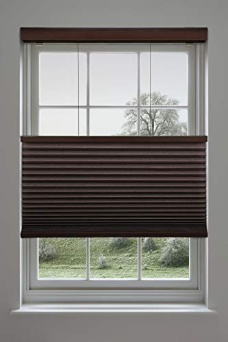 Avenue Six Chocolate - Decor Avenue Custom Cordless 34 x 30 to 36 Chocolate Top Down Bottom Up Light Filtering Cellular Shade Inside Mount