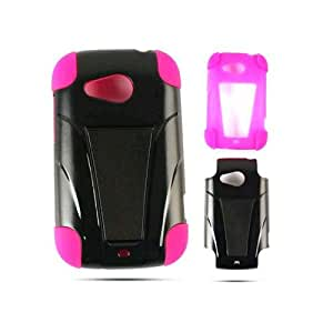 Hybrid Fit Jelly Case for HTC Desire C - Hot Pink Skin and Black w/ Stand