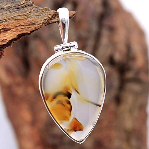 Pear Shape Montana Agate Gemstone Pendant 7.43 Grams 925 Sterling Silver Pendant Jewelry Beautiful Silver Pendant Pretty Silver Pendant Silver Jewelry