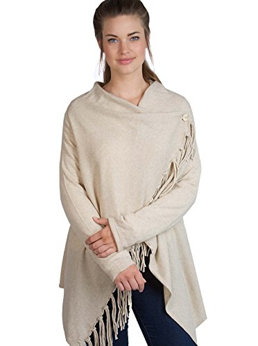 Zwillingsherz Womens Wrap Poncho Topper - with Cashmere and Fray- various colors - beige