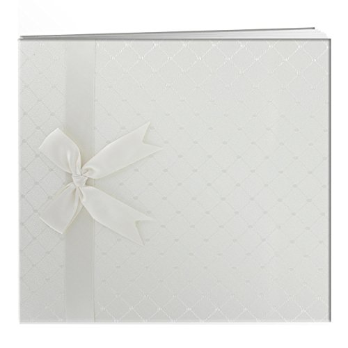 Pioneer 8 Inch by 8 Inch Postbound Diamond Fabric Cover Memory Book, Ivory