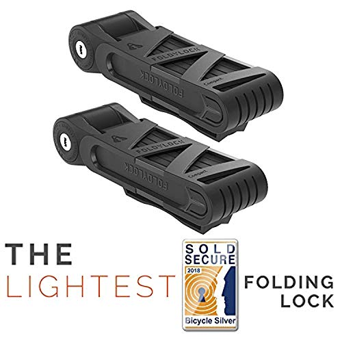 FOLDYLOCK Compact Bike Lock | Extreme Bike Lock - Heavy Duty Bicycle Security Chain Lock Steel Bars| Carrying Case Included| Unfolds to 85cm / 33.5