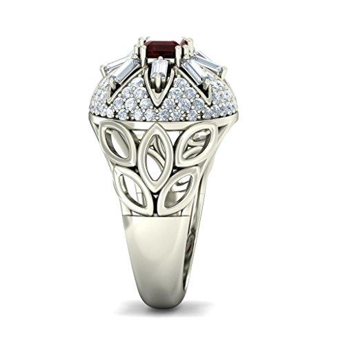 14K Or blanc, 0.98carat Diamant Blanc (IJ | SI) Grenat et diamant Bague