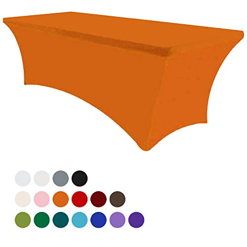Eurmax 6Ft Rectangular Fitted Spandex Tablecloths Wedding Party Table Covers Event Stretchable Tablecloth (Orange) -