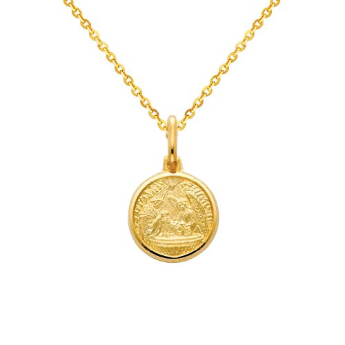 14k Yellow Gold Religious Baptism Medal Pendant with 1.2mm Cable Chain Necklace - 22'' by The World Jewelry Center