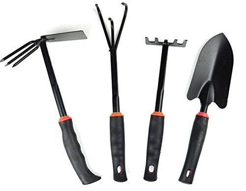 JustNile 4-Piece Black Wrought Iron Gardening Hand Tool Set by JustNile