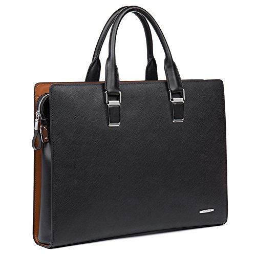 BOSTANTEN Leather Briefcase Shoulder Laptop Business Slim Bag for Men & Women ()