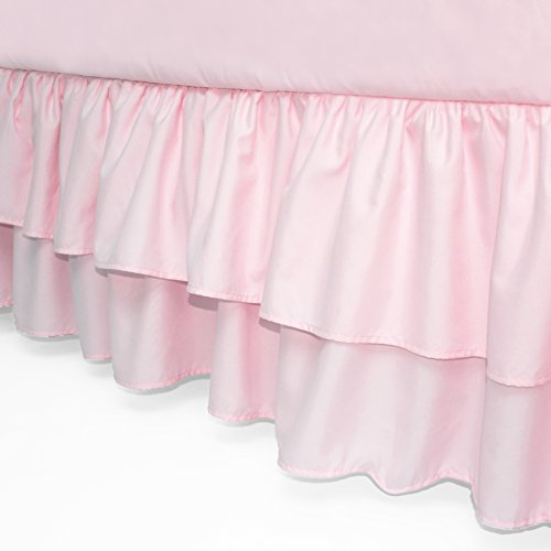 (American Baby Company Double Layer Ruffled Crib Skirt, Blush Pink, for Girls)