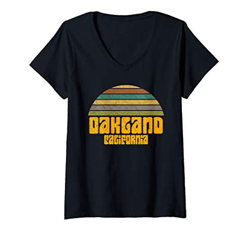 Womens BACK TO SCHOOL VINTAGE 70s 80s STYLE OAKLAND CA Distressed  V-Neck T-Shirt