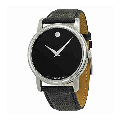 Men's Museum Watch with Leather Strap (Mens Black Movado Watch)