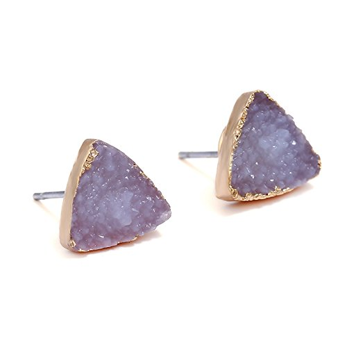 - Unique White Natural Stone Stud Earrings,Triangle Black Mineral Earrings for Women (White)